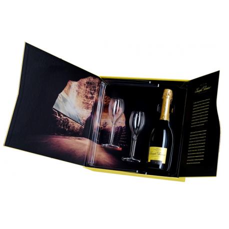 Dárková kazeta se dvěmi sklenicemi + Champagne JP Brut 0,7l, 12% alc.