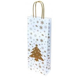 Papírová taška na 1 víno vánoční